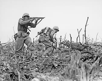 Grayscale photo of two soldier