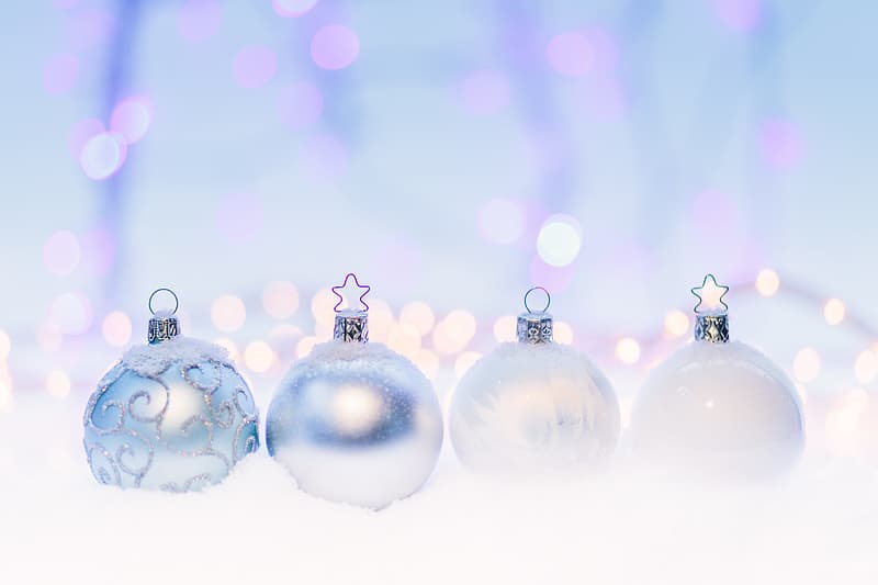 Silver baubles with white light