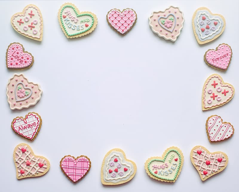 Pink and green heart shaped decors