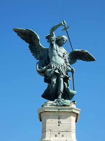 St. Michael statue during daytime