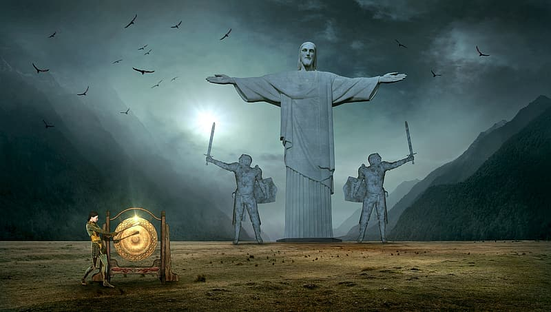 Christ the Redeemer with two warriors in valley with gong artwork