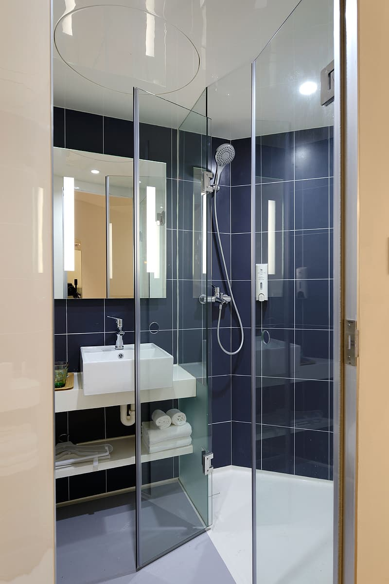 Clear glass shower stall