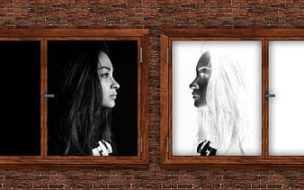 Womans face on brown wooden frame