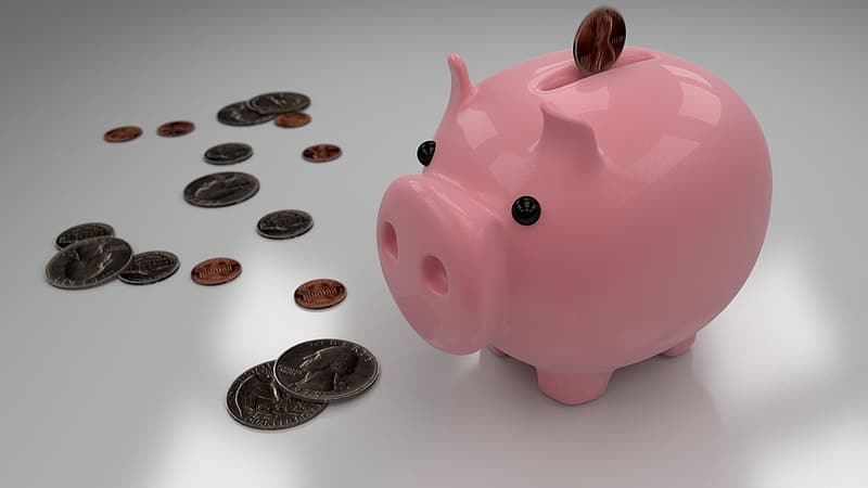 Pink ceramic piggy bank with coins