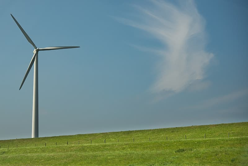 Wind mill surrounded in green grass field