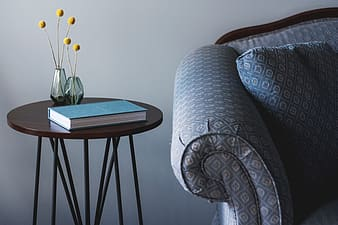 Teal book on brown table