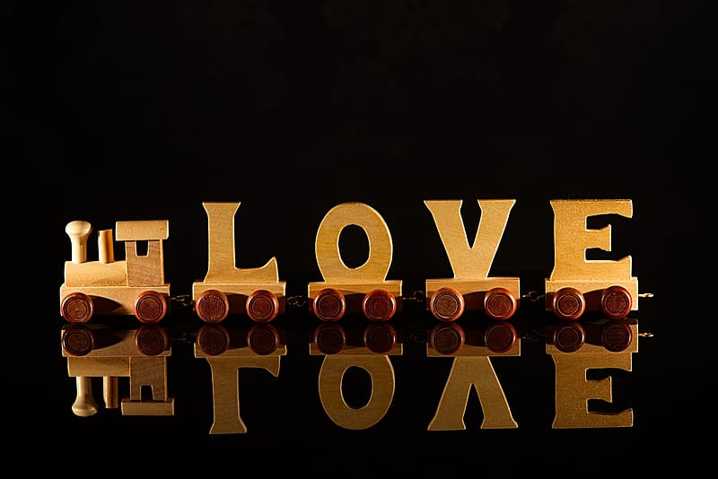 I love you text on black background
