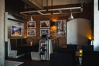 The modern cafe with cozy interior