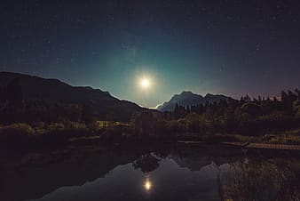 Lake surrounded by trees and mountains during night time