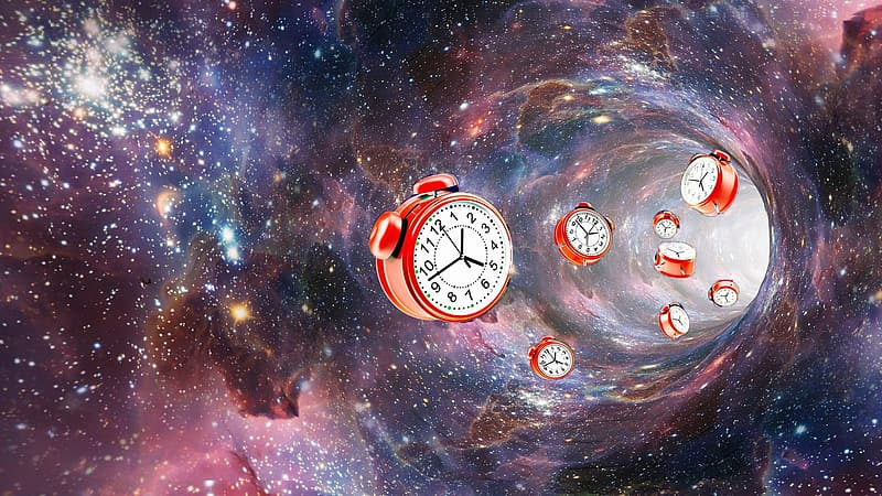 Round white and red twin-bell alarm clock wallpaper