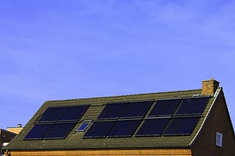House roofs with solar panels