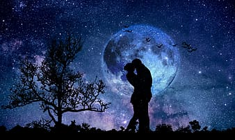 Silhouette of man and woman during night time