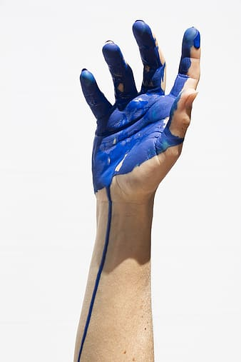 Right human hand with paint