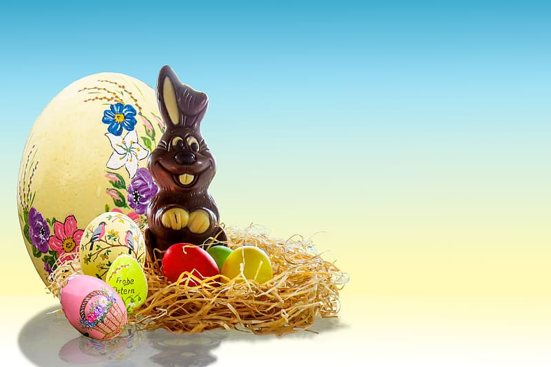 Brown rabbit with Easter eggs
