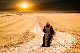 Person in brown and black dress walking on road between dried grass field during golden hour