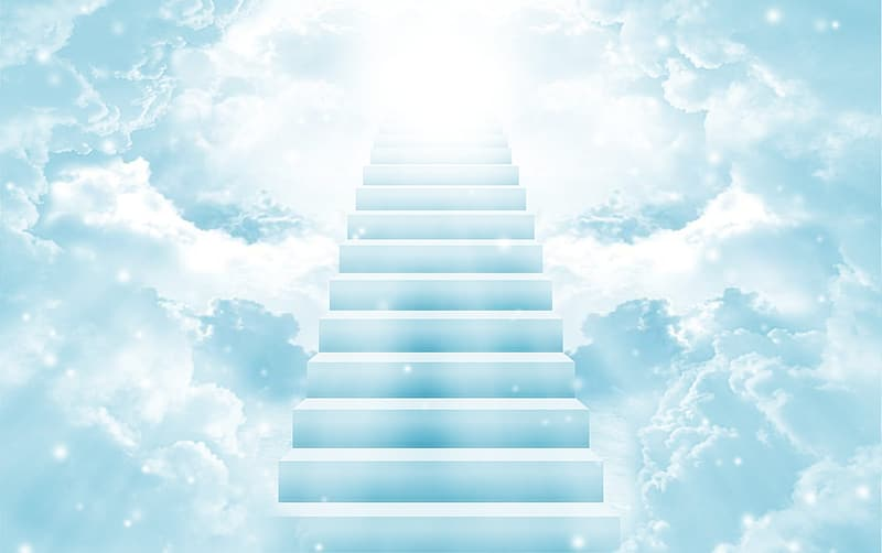 White clouds over white staircase