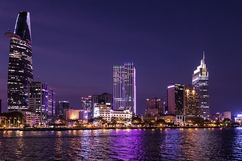 Photo of lighted high-rise building during nighttime