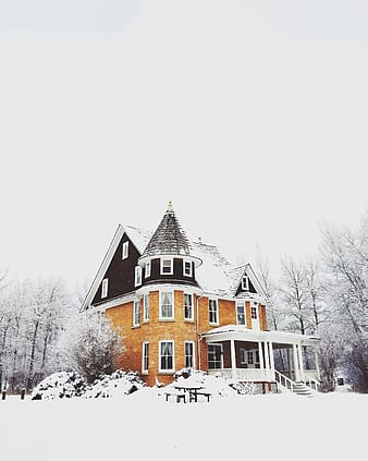 Brown concrete house covered with snow near bare trees