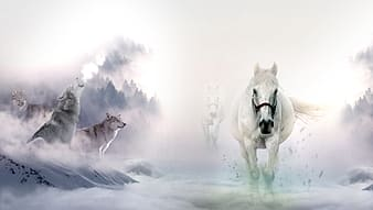 White horses and wolves on a clouds painting