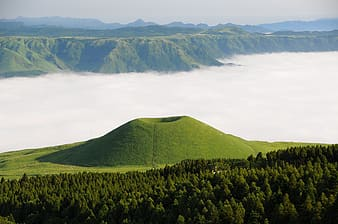 Landscape photo of green mountain