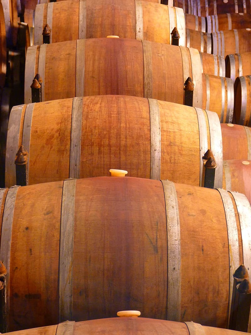 Brown wooden barrels on brown wooden floor