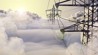 Photo of line of transmission towers
