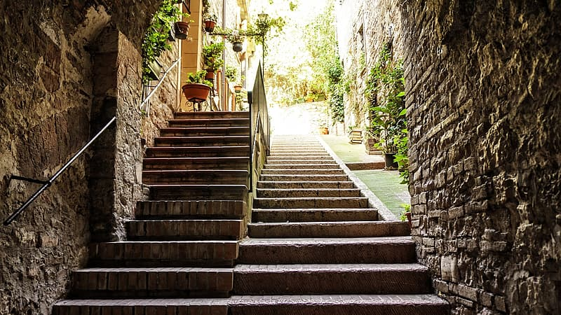 Brown concrete stairs