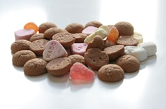 Brown, white, and pink pet food