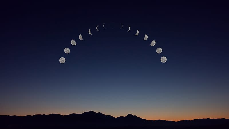 Photography of time lapse of moon
