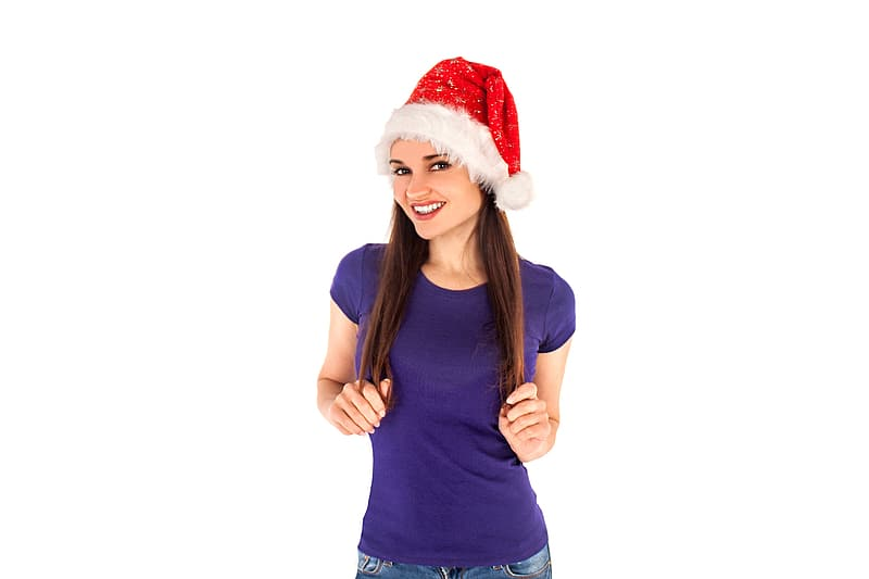 Woman wearing purple t-shirt and red Santa hat