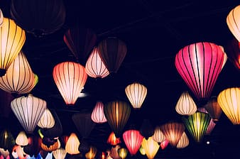 Assorted-color flying lanterns
