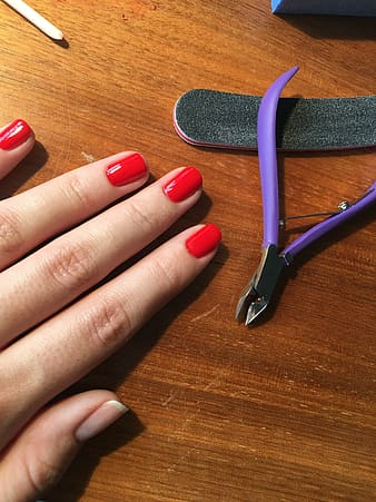 Person's hand beside purple nail nipper