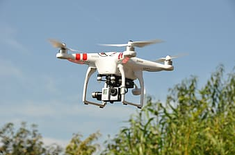 Red and white DJi Phantom drone hovering on sky near tree during day
