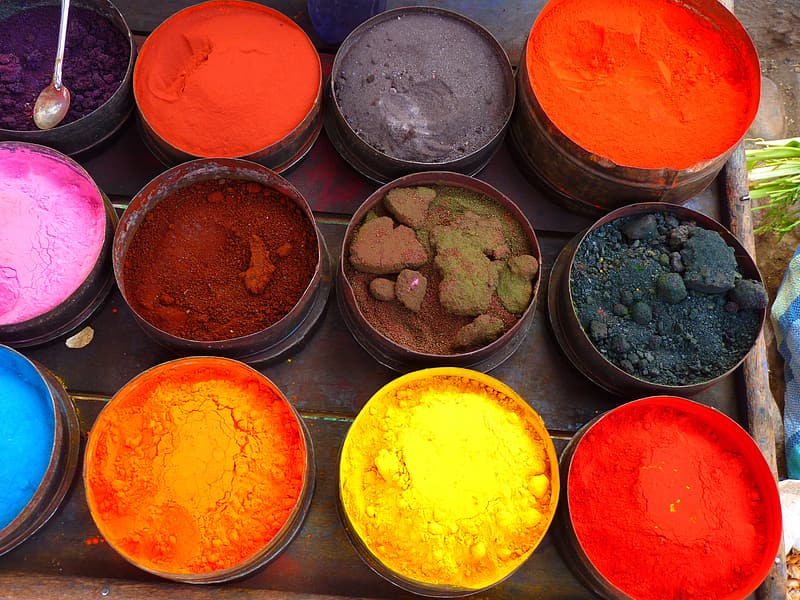 Assorted colored powders