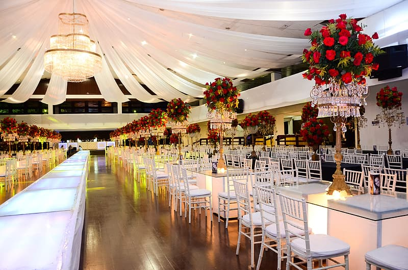 White metal table and chairs on canopy