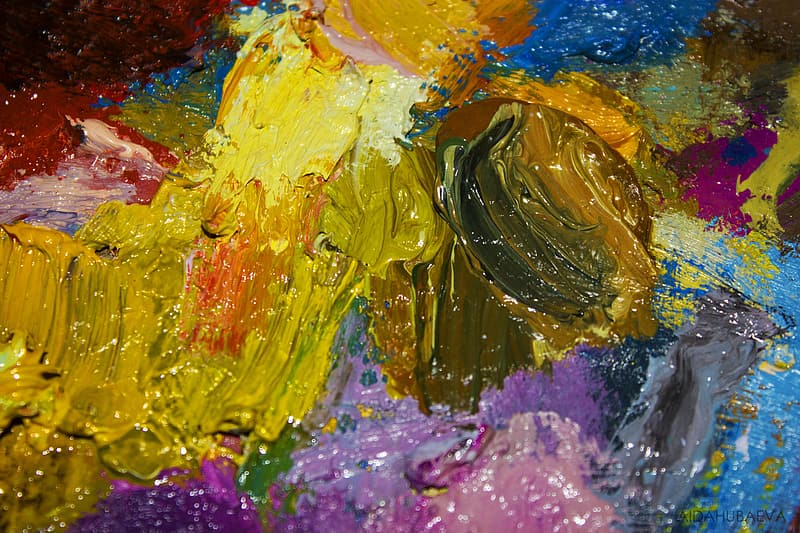 Yellow blue and pink abstract painting