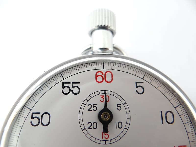 Silver stop watch