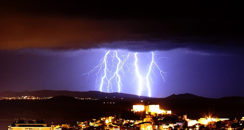 Lightning striking town