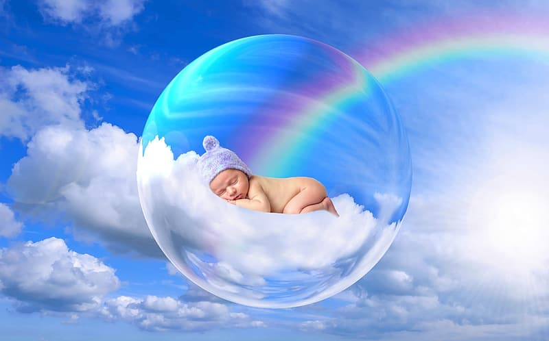 Baby sleeping on clouds