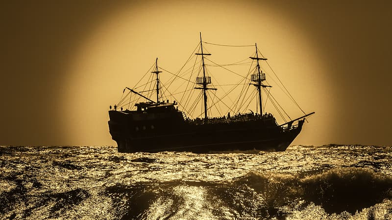 Black galleon ship
