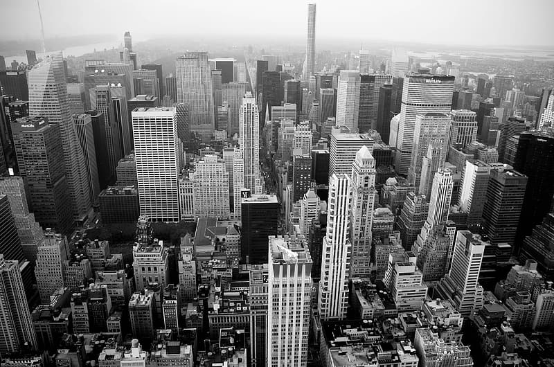 Gray scale top view of New York City