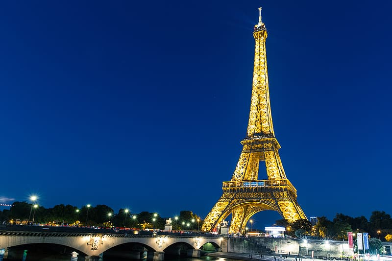 Wide angle night-time shot featuring the iconic Eiffel Tower in Central Paris, France. Image captured with a Canon 6D