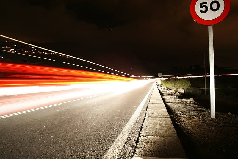 Concrete highway at night time