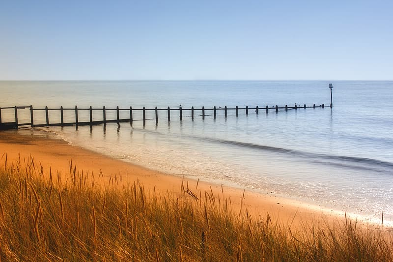 Brown sea sands under blue sky photography