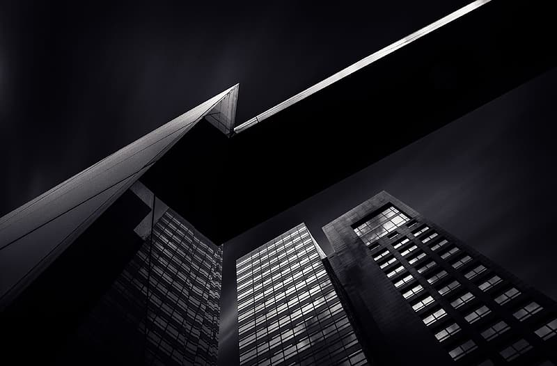 Low angle of black high-rise buildings
