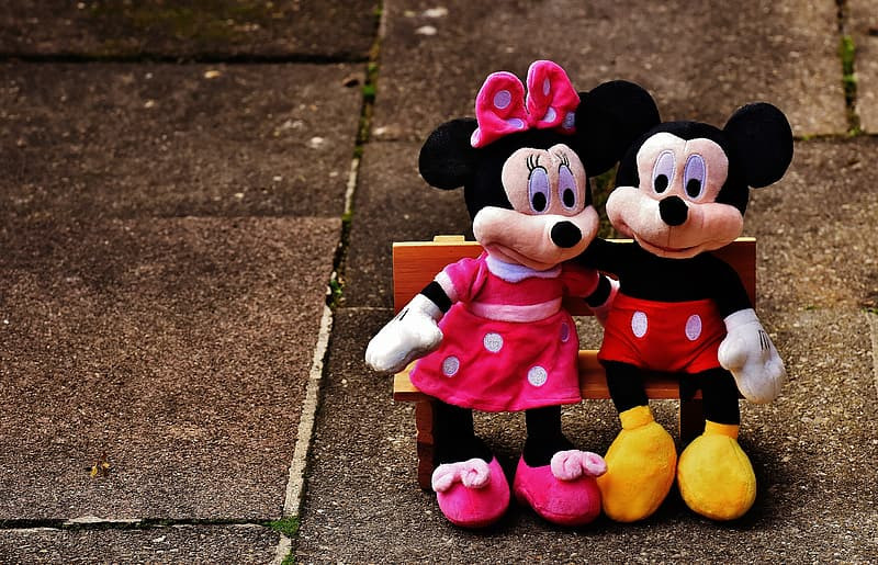 Minnie and Mickey Mouse plush toys
