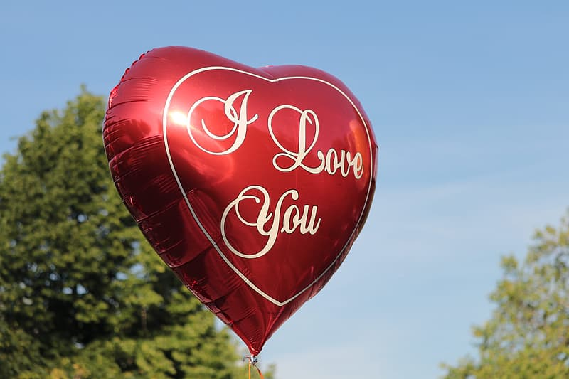 Red and white heart balloon
