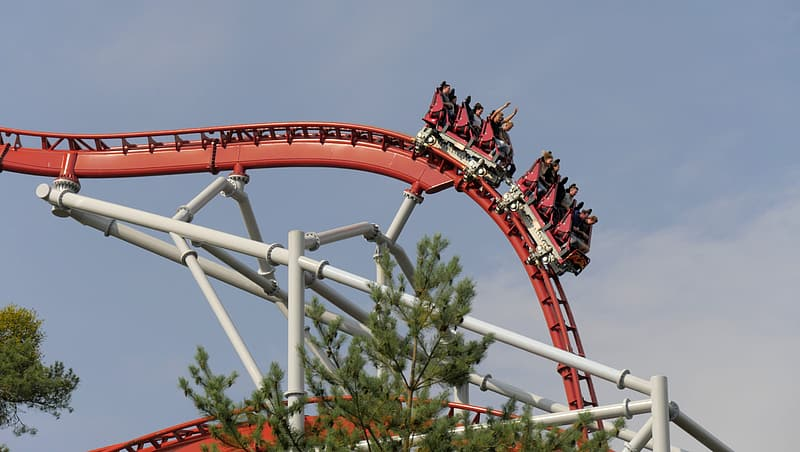 Red and white roller coaster