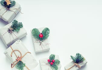 Six white gift boxes
