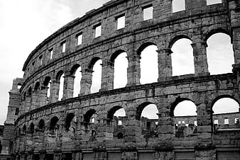 Grayscale photo of the Colosseum